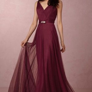 NEW Hitherto Cranberry Zaria Tulle Gown